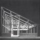 「銀舎」軸組模型。10センチ角の部材で基本的に構成された空間座標としての構造体。