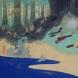 日本画作品「宇津保物語-俊蔭、うつほでの生活 母は子に琴を習わす」 (P8号)