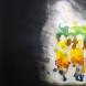 「Greeting flower(Yukari Ota performance『Frame』)」66×96cm 水性多色摺り木版/和紙に水彩 2016